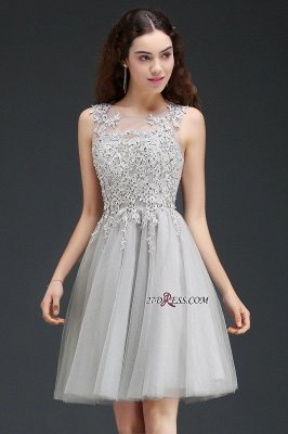 Silver Tulle Short A-Line Sleeveless Appliques Homecoming Dress UK_4
