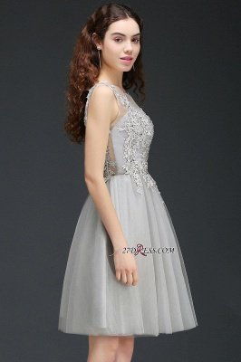 Silver Tulle Short A-Line Sleeveless Appliques Homecoming Dress UK_6