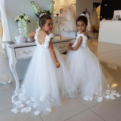Lovely White Flower Girl Dress | 2019 Tulle Long Girls Pageant Dress_3