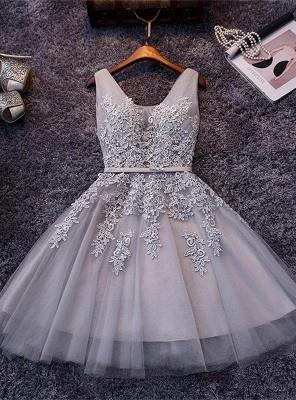 Beautiful Sleeveless lace-up Short homecoming Dress UK Lace Appliques Tulle BA3782_4