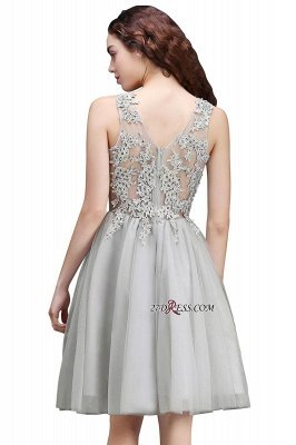 Silver Tulle Short A-Line Sleeveless Appliques Homecoming Dress UK_7
