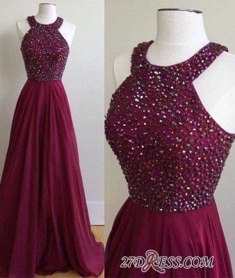 Newest A-Line Sleeveless Sweep-Train Crystal Prom Dress UK_1