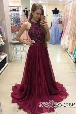 Newest A-Line Sleeveless Sweep-Train Crystal Prom Dress UK_2