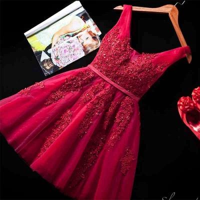 Beautiful Sleeveless lace-up Short homecoming Dress UK Lace Appliques Tulle BA3782_6