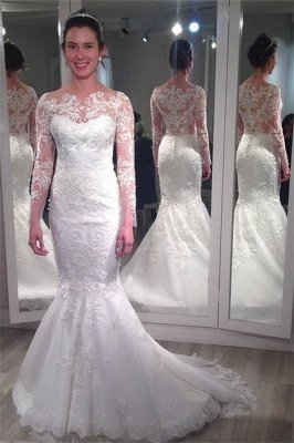 Elegant Lace Appliques Wedding Dress Sexy Mermaid Long Sleeve_1