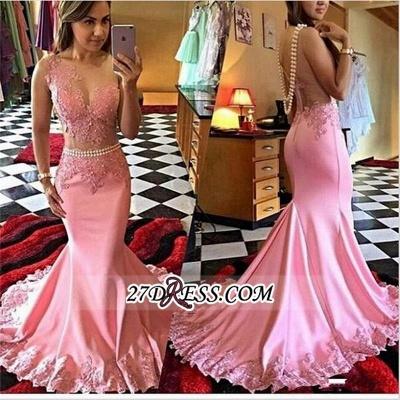 New Mermaid Appliques Sleeveless Elegant Crystal sheer Prom Dress UK_1