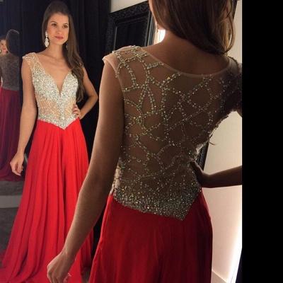 Crystal Beading Sexy Long Natural V-Neck Chiffon Prom Dress UKes UK AP0_2