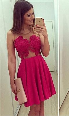 Elegant Sleeveless Short Chiffon Homecoming Dress UK With Lace Appliques BA1561_3