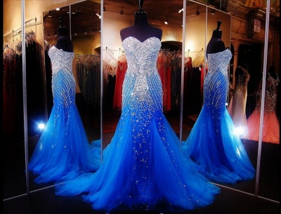 Luxurious Sweetheart Sleeveless Tulle Prom Dress UK With Beadings Crystals_2