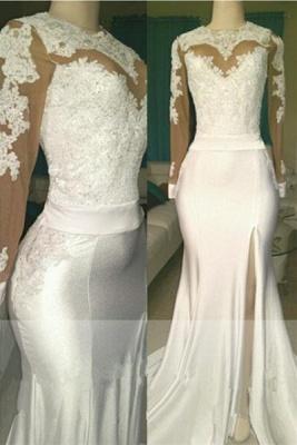 White lace long sleeve prom Dress UK, evening Dress UK with slit_1