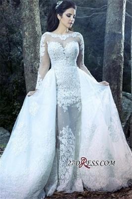Sheath Lace Overskirt Amazing Sheer-Tulle Long-Sleeve Wedding Dresses UK_2
