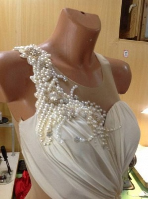 Illusion Bow Princess Wedding Dresses UK Pearl Embellished Bridal Gowns_2