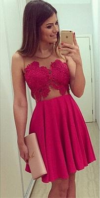 Elegant Sleeveless Short Chiffon Homecoming Dress UK With Lace Appliques BA1561_1