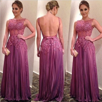 Sexy Illusion Open Back Prom Dress UK Lace Appliques Floor-length_2