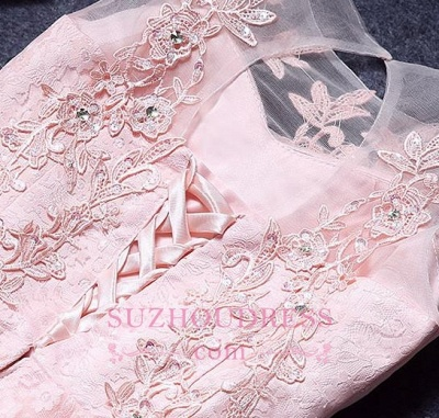 A-Line Lace Pink Sleeveless Appliques Homecoming Dress UK_1