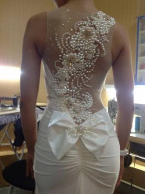 Illusion Bow Princess Wedding Dresses UK Pearl Embellished Bridal Gowns_1