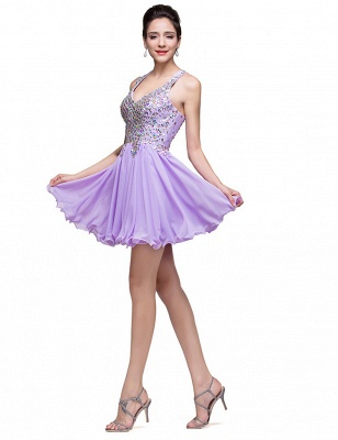 Luxury Halter Sleeveless Homecoming Dress UK Short Tulle With Crystals_4