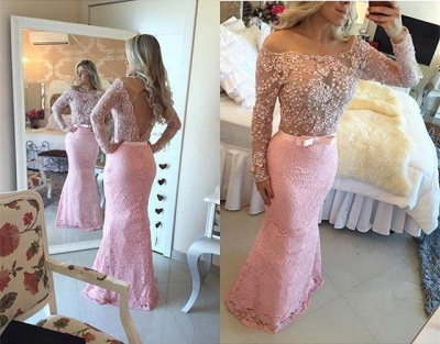 Modern Long Sleeves Pink Prom Dress UKes UK Mermaid Lace Floor Length_2