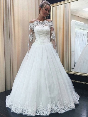 Chic Off-the-Shoulder Long Sleeve Wedding Dress Tulle Lace Bridal Gowns_3