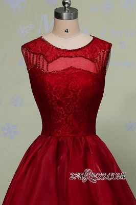 Gorgeous Sleeveless Sequins Lace Red Hi-Lo Prom Dress UK_2