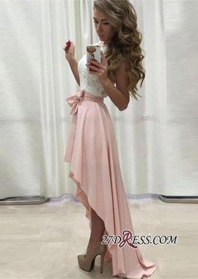 Sleeveless Lace Chiffon Straps A-line Hi-Lo Newest Prom Dress UK BA5241_2