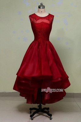 Gorgeous Sleeveless Sequins Lace Red Hi-Lo Prom Dress UK_4