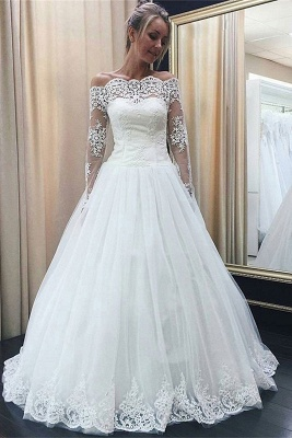 Chic Off-the-Shoulder Long Sleeve Wedding Dress Tulle Lace Bridal Gowns_1
