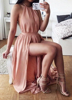 Elegant Halter Front Split Prom Dress UK Open Back Chiffon SP0026_1