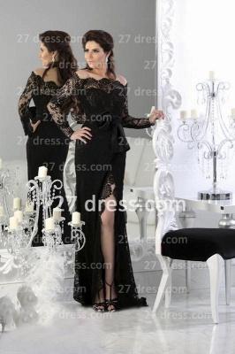 Black Elegant Lace Arabic Prom Dress UK Long Sleeve Sheath Split Evening Gowns_1