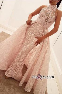 Popular Illusion Sleeveless High-Neck Unique Lace Sheath Puffy Overskirt Prom Dress UK jj0157_3