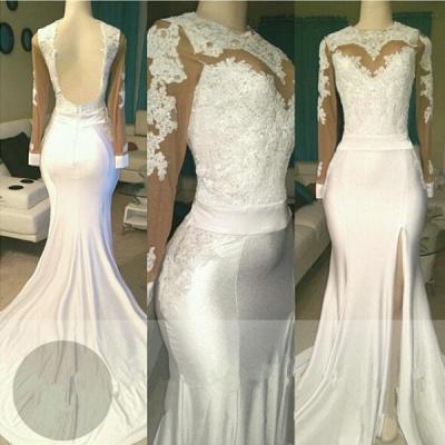 White lace long sleeve prom Dress UK, evening Dress UK with slit_3