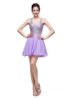 Luxury Halter Sleeveless Homecoming Dress UK Short Tulle With Crystals_5