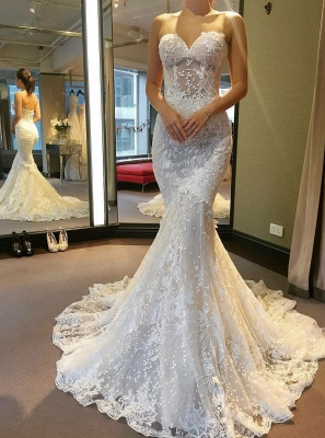 Gorgeous Sweetheart Wedding Dress | Lace Sexy Mermaid Bridal Gowns_1