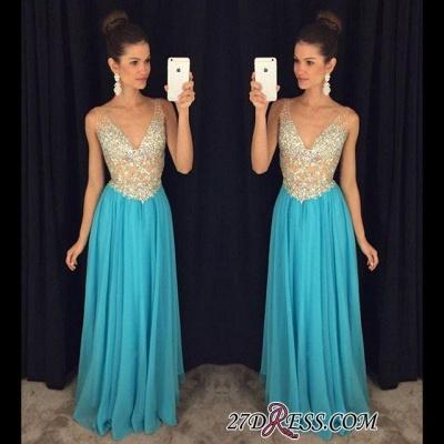 V-Neck Crystal Elegant Popular Ruffles Sleevelesss Prom Dress UKes UK AP0_1