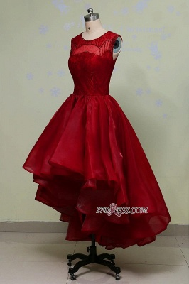 Gorgeous Sleeveless Sequins Lace Red Hi-Lo Prom Dress UK_1