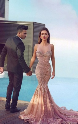 Luxurious Sleeveless Sequins Mermaid Evening Dress UK Tulle Lace Appliques MH100_2
