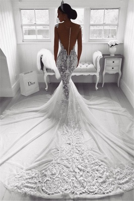 Sexy Mermaid Straps Wedding Dresses UK Sheer Cheap Tulle Sleeveless Appliques Bridal Gowns_3