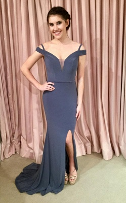 Off-the-shoulder mermaid prom Dress UK, lace-up evening Dress UK_3