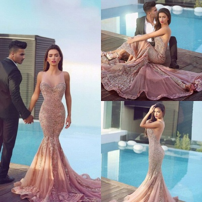 Luxurious Sleeveless Sequins Mermaid Evening Dress UK Tulle Lace Appliques MH100_5