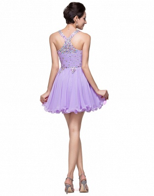 Luxury Halter Sleeveless Homecoming Dress UK Short Tulle With Crystals_2