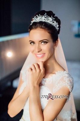 Ball-Gown Short-Sleeves Lace Chic Elegant Court-train Scoop Neckline Wedding Dress_1