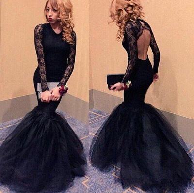 Elegant Black Lace Long Sleeve Prom Dress UKes UK Mermaid Open Back Evening Party Gowns BK0_3
