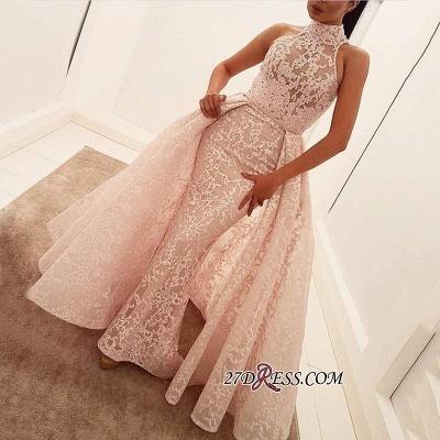 Popular Illusion Sleeveless High-Neck Unique Lace Sheath Puffy Overskirt Prom Dress UK jj0157_2