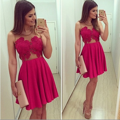 Elegant Sleeveless Short Chiffon Homecoming Dress UK With Lace Appliques BA1561_2