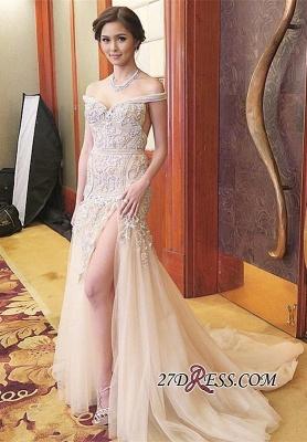 Mermaid Sweep-Train Off-the-shoulder Delicate Front-Split Prom Dress UK_3