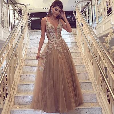 Luxury Sleeveless Evening Dress UK Tulle Long On Sale Lace Appliques_3