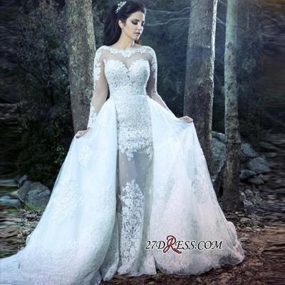 Sheath Lace Overskirt Amazing Sheer-Tulle Long-Sleeve Wedding Dresses UK_1