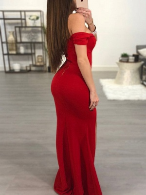 Sexy Red Off-the-Shoulder Prom Dress UK   Mermaid Sweetheart Evening Gowns_3