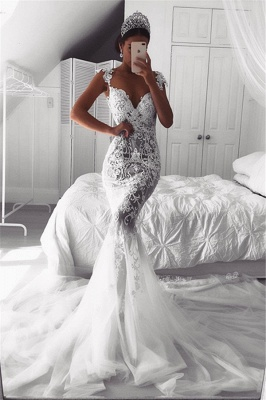 Sexy Mermaid Straps Wedding Dresses UK Sheer Cheap Tulle Sleeveless Appliques Bridal Gowns_1