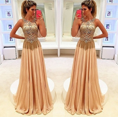 Newest Beadings Chiffon Illusion Prom Dress UK A-line Sweep Train_3